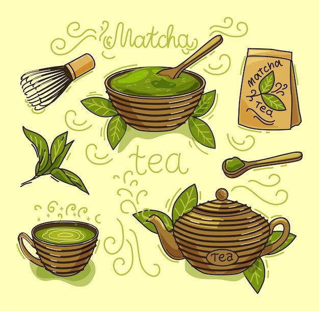 Conjunto de produtos de chá matcha. matcha em pó, mochi, bule, colher, folhas de chá. ilustração a cores. os objetos são isolados.