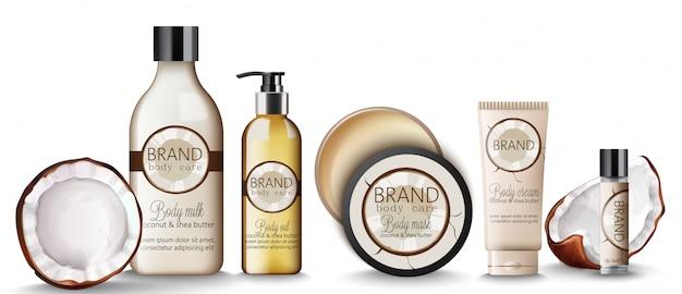 Conjunto de produtos de coco com cremes, frascos de shampoo, leite, máscara e protetor labial