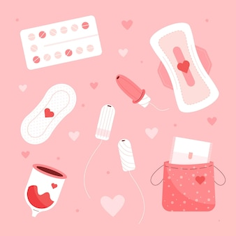 Conjunto de produtos de higiene feminina