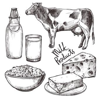 Conjunto de produtos de leite de esboço