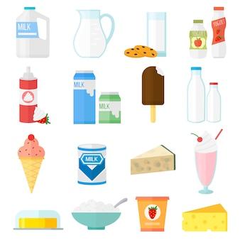 Conjunto de produtos de leite.