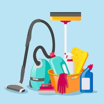 Conjunto de produtos de limpeza de superfícies