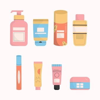 Conjunto de produtos de limpeza e cosméticos para a pele