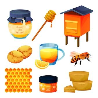 Conjunto de produtos de mel e apicultura