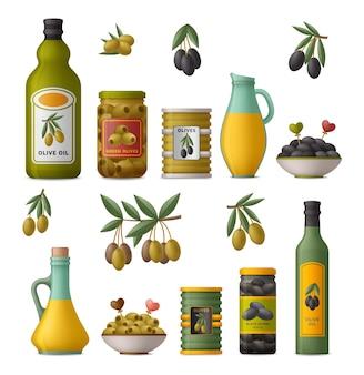 Conjunto de produtos de oliva. frutas inteiras e sem caroço em latas, óleo em garrafas e jarras de vidro, galhos.