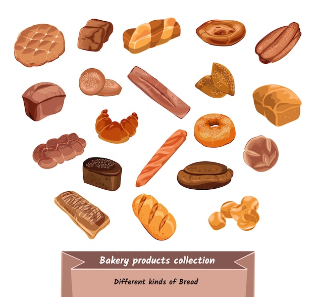 Conjunto de produtos de padaria coloridos desenhados à mão