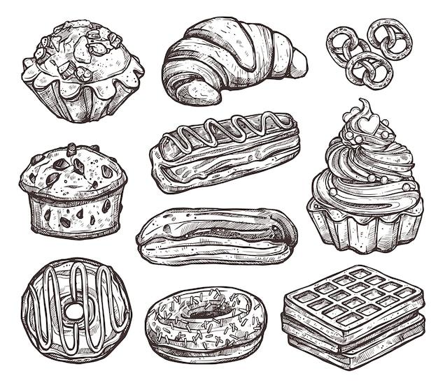 Conjunto de produtos de panificação e doces