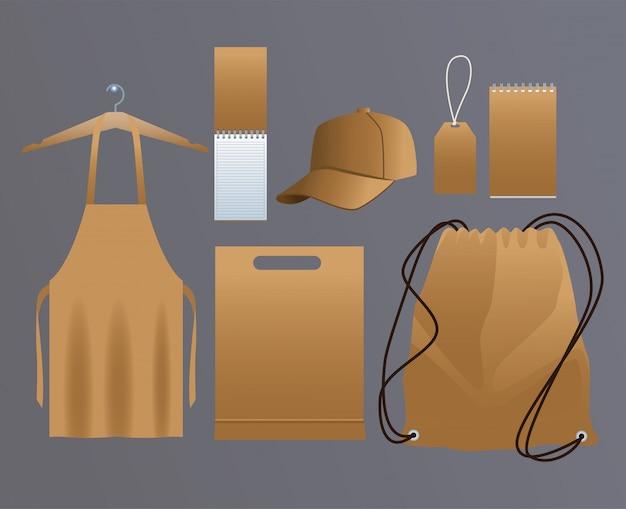 Conjunto de produtos de papelão