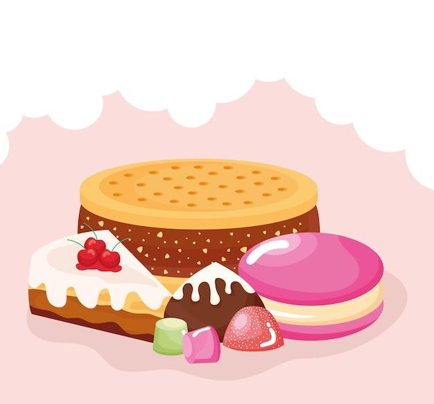 Conjunto de produtos de pastelaria