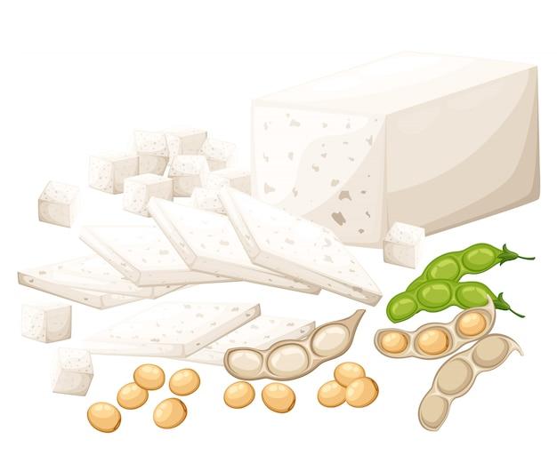 Conjunto de produtos de soja tofu e ilustração de comida vegetariana orgânica de feijão na página do site e aplicativo móvel com fundo branco