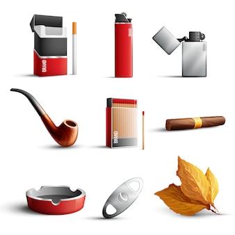 Conjunto de produtos de tabaco realista
