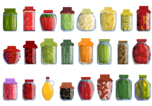 Conjunto de produtos em conserva. conjunto de desenhos animados de produtos em conserva