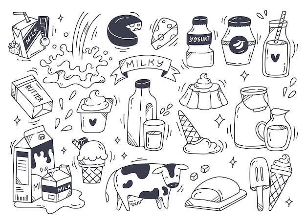 Conjunto de produtos lácteos em ilustração de estilo doodle