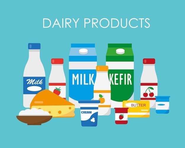 Conjunto de produtos lácteos, leite, iogurte, queijo, creme, fundo azul, ilustração vetorial