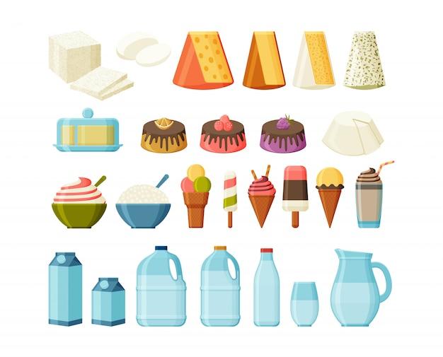 Conjunto de produtos lácteos. leite, queijo e sorvete. ilustração.