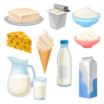 Conjunto de produtos lácteos, manteiga, iogurte, tigela de creme de leite e queijo cottage, sorvete, jarro e copo de leite e queijo ilustrações sobre um fundo branco