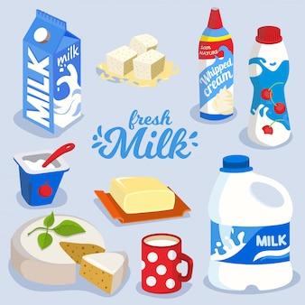 Conjunto de produtos lácteos, produtos lácteos no ícone do pacote colorido