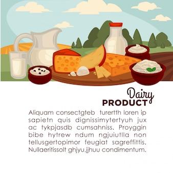 Conjunto de produtos lácteos saudáveis.