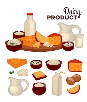 Conjunto de produtos lácteos saudáveis