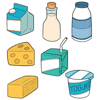Conjunto de produtos lácteos