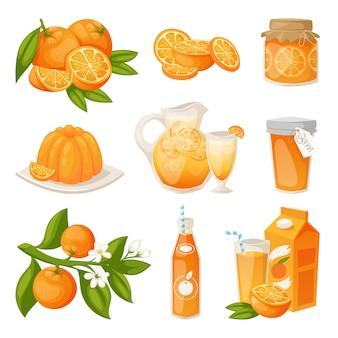 Conjunto de produtos laranja.