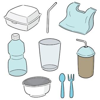Conjunto de produtos não biodegradáveis