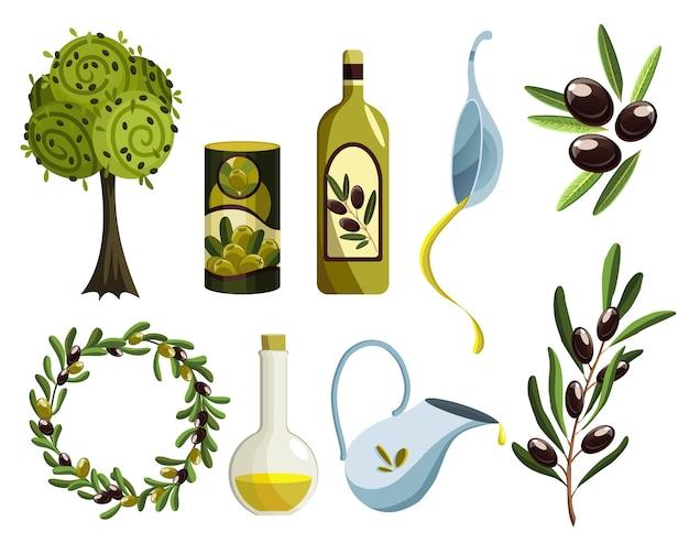 Conjunto de produtos orgânicos de oliva. elementos de óleo. fetos de árvores maduras frescas e óleo perfumado em garrafas e jarros isolados no fundo branco.