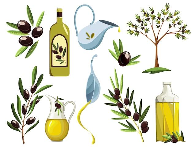 Conjunto de produtos orgânicos de oliva. elementos de óleo.
