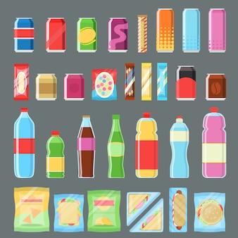 Conjunto de produtos para máquinas de venda automática em design plano