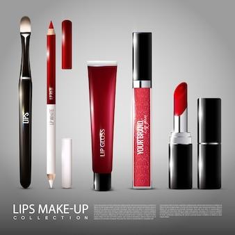 Conjunto de produtos realistas de cosmetologia