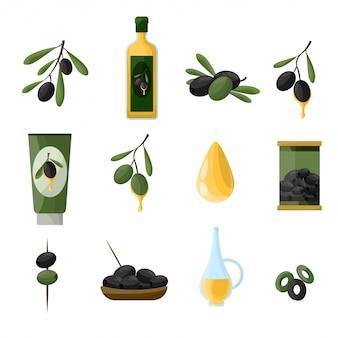 Conjunto de produtos saudáveis de azeitonas