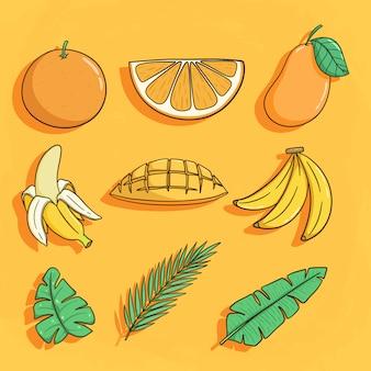 Conjunto de produtos tropicais como laranja, banana e folha de coco