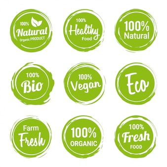 Conjunto de produtos vegetarianos de rótulos orgânicos naturais