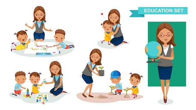 Conjunto de professor de jardim de infância. atividade estudantil e volta ao conceito de escola.
