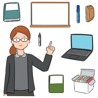 Conjunto de professores e equipamentos de ensino