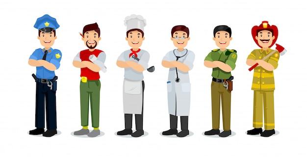 Conjunto de profissão colorida homem estilo plano ícones policial, artista, fogão, militar, médico, bombeiro.