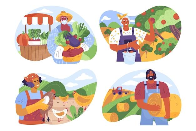 Conjunto de profissão de agricultura plana orgânica