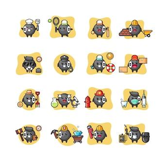 Conjunto de profissão de personagem kawaii de bilhar 8 bolas