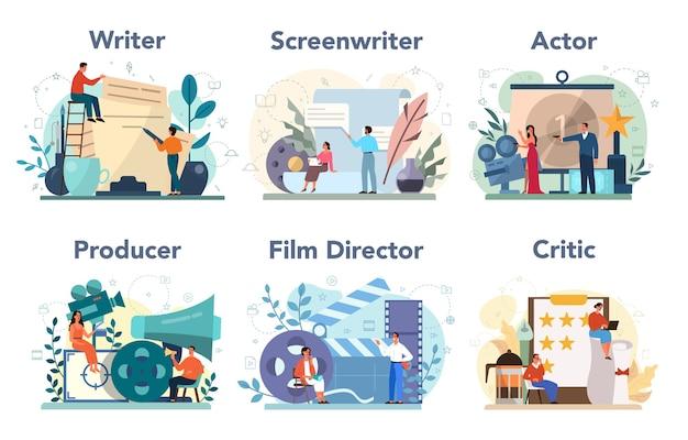 Conjunto de profissão de produção de filme.