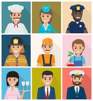 Conjunto de profissões. design plano de nove ícones quadrados