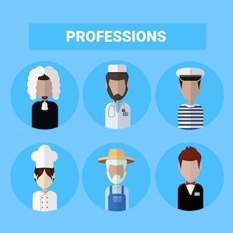 Conjunto de profissões diferentes de conceito de ocupação de pessoas de ícones
