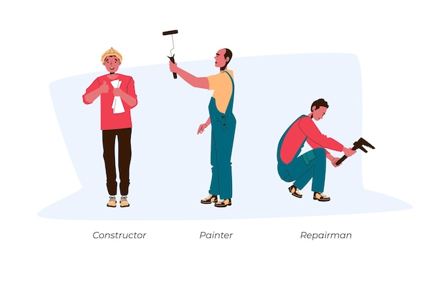 Conjunto de profissões domésticas e de renovação