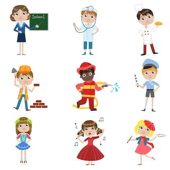 Conjunto de profissões futuras de crianças