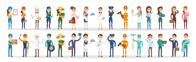 Conjunto de profissões. homens e mulheres de diferentes tipos.