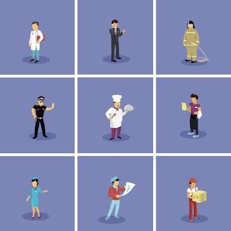 Conjunto de profissões populares de caracteres