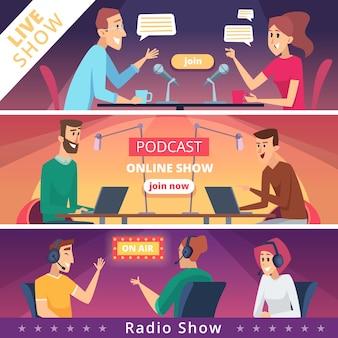 Conjunto de programas ao vivo e banner de podcast