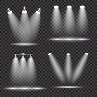 Conjunto de projetores brilhantes realistas, coleção de lâmpada de iluminação com holofotes efeitos de iluminação