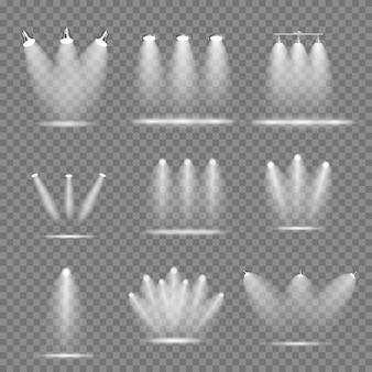 Conjunto de projetores brilhantes realistas