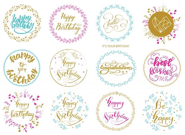 Conjunto de projetos de rotulação de aniversários de saudação. ilustração do vetor.