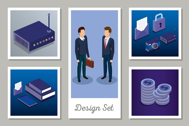 Conjunto de projetos de tecnologia digital e homens de negócios